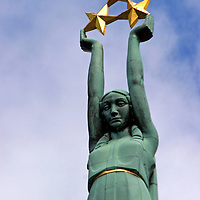 Europe, Latvia, Riga. The Freedom Monument honoring heroes of the Latvian War of Independence.