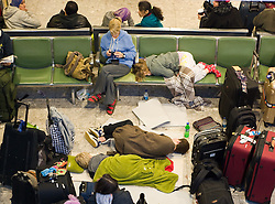 © under license to London News Pictures.  21/12/2010. Passengers stranded at Heathrow terminal 3 today (21/12/2010) on the fifth day of disruption following heavy snowfall at the weekend. Most flights in and out of Heathrow remain cancelled. Photo credit should read: London News PIctures.