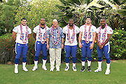 KAPOLEI - FEBRUARY 10:  The National Football Conference NFC All-Star linebackers pose with their position coach at the 2006 NFL Pro Bowl at the Ko Olina Resort on February 10, 2006 in Kapolei, Hawaii. ©Paul Spinelli/SpinPhotos