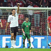 Germany's Mario GOMEZ (C) celebrate his goal during their UEFA EURO 2012 Qualifying round Group A matchday 19 soccer match Turkey betwen Germany at TT Arena in Istanbul October 7, 2011. Photo by TURKPIX