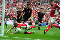 Football - 2018 / 2019 EFL Sky Bet League One Play-Off Final - Sunderland vs. Charlton<br /> <br /> Ben Purrington of Charlton arrives at the far post to score the equalising goal, at Wembley Stadium.<br /> <br /> COLORSPORT/ANDREW COWIE