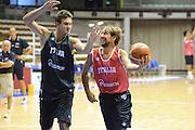 Trieste, 08/08/2012<br /> Baslet, Nazionale Italiana Maschile Senior<br /> Allenamento<br /> Nella foto: Giuseppe Poeta, Danilo Gallinari<br /> Foto Ciamillo