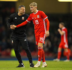 October 11, 2018 - Cardiff City, Walles, United Kingdom - Cardiff, Wales October 11, .Ryan Giggs manager of Wales shakes hands with David Brooks of Wales during Exhibition Match between Wales and Spain at Principality stadium, Cardiff City, on 11 Oct  2018. (Credit Image: © Action Foto Sport/NurPhoto via ZUMA Press)