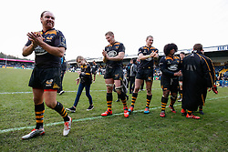Wasps Fly-Half Andy Goode leads a group of players round their pitch to show their support and thanks to their fans after the last game at Adams Park. Wasps will play their next home game at their new home in Coventry, the Ricoh Arena - Photo mandatory by-line: Rogan Thomson/JMP - 07966 386802 - 14/12/2014 - SPORT - RUGBY UNION - High Wycombe, England - Adams Park Stadium - Wasps v Castres Olympique - European Rugby Champions Cup Pool 2.