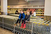 Selfoss, Iceland, 1 apr 2019, children at the Nova supermarket are having fun.