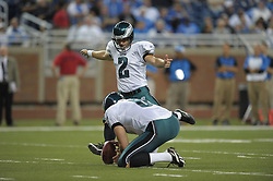 DETROIT - SEPTEMBER 19: Kicker David Akers #2 of the Philadelphia Eagles kicks an extra point during the game against the Detroit Lions on September 19, 2010 at Ford Field in Detroit, Michigan. (Photo by Drew Hallowell/Getty Images)  *** Local Caption *** David Akers