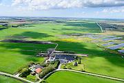 Nederland, Overijssel, Gemeente Steenwijkerland, 07-05-2015; Weerribben, boerderij van Weerribben Zuivel, extensieve, biologische veehouderij en kleine ambachtelijke zuivelfabriek.<br /> Farm and smaal factory for organic dairy farming.<br /> luchtfoto (toeslag op standard tarieven);<br /> aerial photo (additional fee required);<br /> copyright foto/photo Siebe Swart