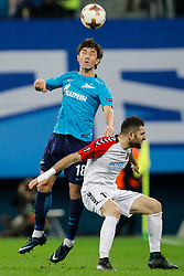 November 23, 2017 - Saint Petersburg, Russia - Yuri Zhirkov (L) of FC Zenit Saint Petersburg and Tigran Barseghyan of FK Vardar vie for the ball during the UEFA Europa League Group L match between FC Zenit St. Petersburg and FK Vardar at Saint Petersburg Stadium on November 23, 2017 in Saint Petersburg, Russia. (Credit Image: © Mike Kireev/NurPhoto via ZUMA Press)