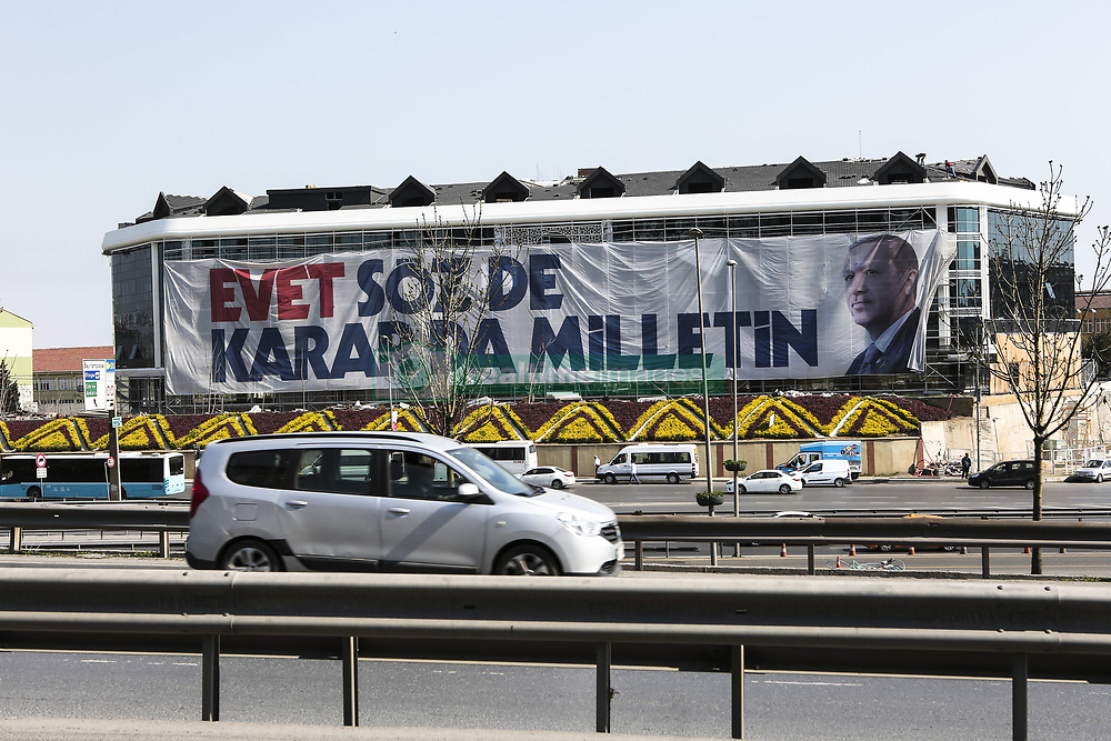 April 14, 2017 - Istanbul, Turkey - A portrait of the Turkish President Recep Tayyip Erdogan hanging at a building at Cevizlibag District of Istanbul. A constitutional referendum to the introduction of a presidential system which would give President Erdogan more power will be held throughout Turkey on 16 April 2017. (Credit Image: © Tolga Adanali/Depo Photos via ZUMA Wire)