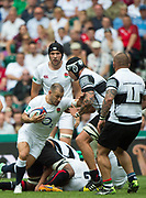 """Twickenham, Surrey, United Kingdom.  Danny CARE, attempts to, """"hand off """" Baa Baa's Patricio ABAACETE, during the, Old Mutual Wealth Cup, England vs Barbarian's match, played at the  RFU. Twickenham Stadium, on Sunday   28/05/2017England    <br /> <br /> [Mandatory Credit Peter SPURRIER/Intersport Images]"""
