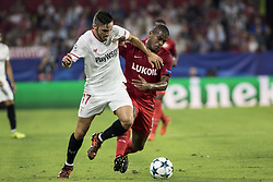 November 1, 2017 - Seville, Spain - Pablo Sarabia of Sevilla (L ) vies for the ball with Fernando of Spartak (R ) during the UEFA Champions League Group E soccer match between Sevilla FC and Spartak Moskva at Estadio Ramon Sanchez Pizjuan (Credit Image: © Daniel Gonzalez Acuna via ZUMA Wire)