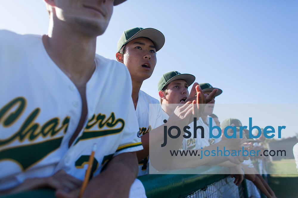 Edison's Jared Sasaki (4) cheers during the seventh inning of a CIF-SS Division 2 second round game against Moorpark at Edison High School on Tuesday, May 23, 2017 in Huntington Beach, California. (Photo/Josh Barber)