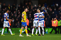 Football - 2018 / 2019 FA Cup - Third Round: Queens Park Rangers vs. Leeds United<br /> <br /> Queens Park Rangers' Osman Kakay hugs Grant Hall at the final whistle, at Loftus Road.<br /> <br /> COLORSPORT/ASHLEY WESTERN