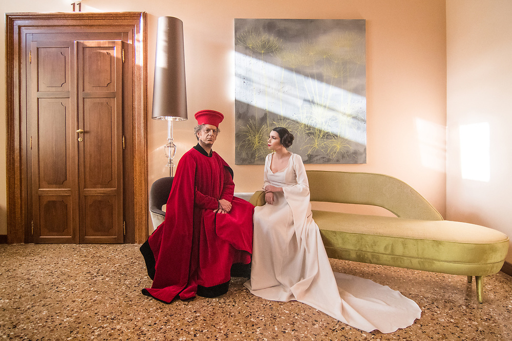 Venice, February 2019<br /> Models dress a red velvet dress for men, of the second half of the 1400s, taken from a Bellini subject, and a white dress with long train inspired by Princess Leila of Star Wars.The theme for the 2019 edition of Venice Carnival is 'Venice, the oldest city of the future!' and will run from 16th of February to 5th of March 2019.