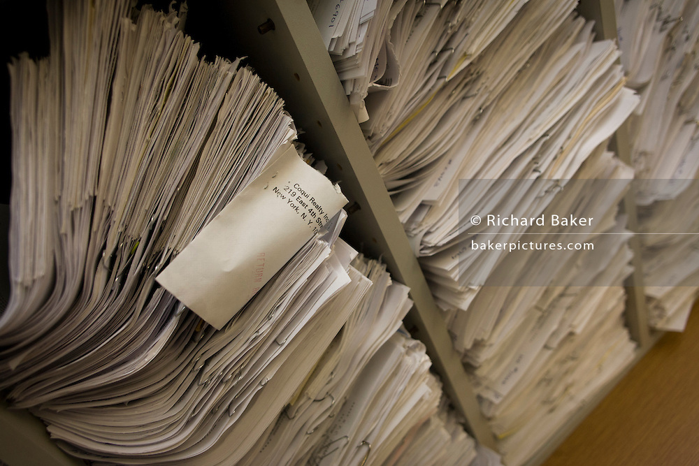 Records archive held in the City of New York Buildings Department, Manhattan, by Investigative Engineering Services, Assistant Commissioner Tim Lynch, Manhattan.