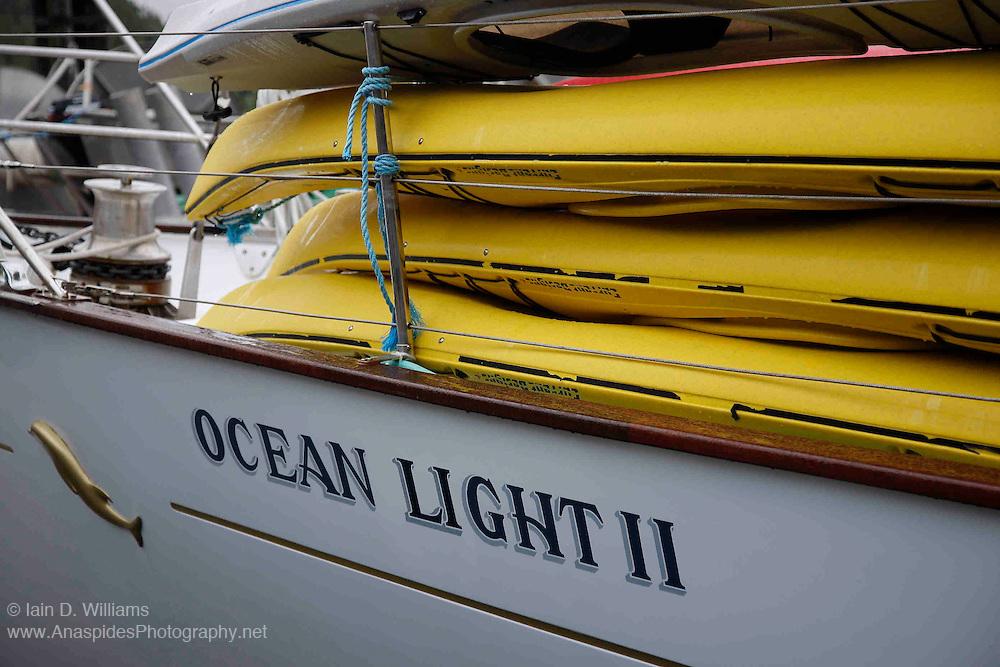 Sea kayaks aboard ocean going sailboat