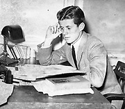 """JFK Diary up for Auction<br /> <br /> After the end of the war in 1945, Ambassador Joseph Kennedy arranged for his 28-year-old son, Jack, to work for Hearst newspapers. This allowed the young veteran to attend the opening session of the United Nations in San Francisco in May and then travel abroad to cover post-war Europe during the Summer of 1945. <br /> <br /> JFK followed Prime Minister Churchill throughout England during his reelection campaign. He traveled to Ireland, France, then to the Potsdam Conference in Germany with Navy Secretary James Forrestal. He even viewed the charred remains of Hitler's bombed out bunker in Berlin and observed the Fuhrer's famed Berchtesgaden 'Eagle's Nest.'<br /> <br /> John F. Kennedy recorded his historic trip in a 61-page diary, documenting his personal observations of what he saw firsthand and perceptions of what would happen in the post-war world. This incredible manuscript reveals his insightful views and predictions of the world around him at an early age—a man who would, sixteen years later, become America's 35th President.<br /> <br /> Comprised of 61 loose-leaf pages, 12 handwritten and 49 typed, the diary is housed in a quality Trussell cowhide leather binder. <br /> <br /> Photo shows: John F. Kennedy in his junior year at Harvard University.<br /> John F. kennedy Presidential Library and Museum, Boston."""" 1938<br /> ©rrauction/Exclusivepix Media"""