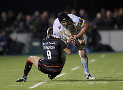 Saracens' Richard Wigglesworth tackles Exeter Chiefs' Mitch Lees during the Aviva Premiership match at Allianz Park, London.
