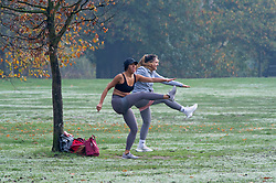 © Licensed to London News Pictures. 06/11/2020.  <br /> Greenwich, UK. Two women working out in the park. People  out and about in Greenwich Park, London making the most of their lockdown exercise on a cold November morning.  Photo credit:Grant Falvey/LNP