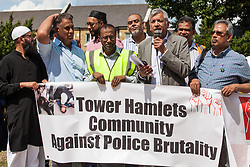 London, UK. 12 July, 2019. Unmesh Desai, Labour London Assembly Member for City and East, addresses members of the local community protesting in Poplar after Friday prayers close to the site where Younis Bentahar, aged 38, was violently arrested by Metropolitan Police officers on 10th July following a 5-stage warning. The incident, during which Mr Bentahar appeared to be having a seizure, has since been referred to the Metropolitan Police's Central East Command Professional Standards Unit after a video of the arrest went viral on social media. Mr Bentahar was filmed being struck with handcuffs and pinned down by police officers after he had stopped on a single yellow line with a disabled badge displayed and ignored the five-stage warning.