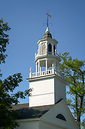 A church steeple in Castine, Maine on a summer day