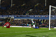 Oumar Niasse of Everton falls over as he scores his teams 1st goal. <br /> Premier league match, Everton vs Watford at Goodison Park in Liverpool, Merseyside on Sunday 5th November 2017.<br /> pic by Chris Stading, Andrew Orchard sports photography.