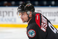 KELOWNA, CANADA - SEPTEMBER 28: Tanner Wishnowski #9 of Kelowna Rockets warms up against the Prince George Cougars on September 28, 2016 at Prospera Place in Kelowna, British Columbia, Canada.  (Photo by Marissa Baecker/Shoot the Breeze)  *** Local Caption *** Tanner Wishnowski;