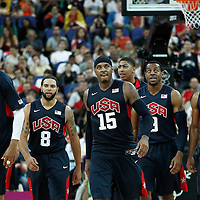 10 August 2012: USA Tyson Chandler, Deron Williams, Carmelo Anthony, Andre Iguodala and Russell Westbrook are seen during 109-80 Team USA victory over Team Argentina, during the men's basketball semi-finals, at the North Greenwich Arena, in London, Great Britain.