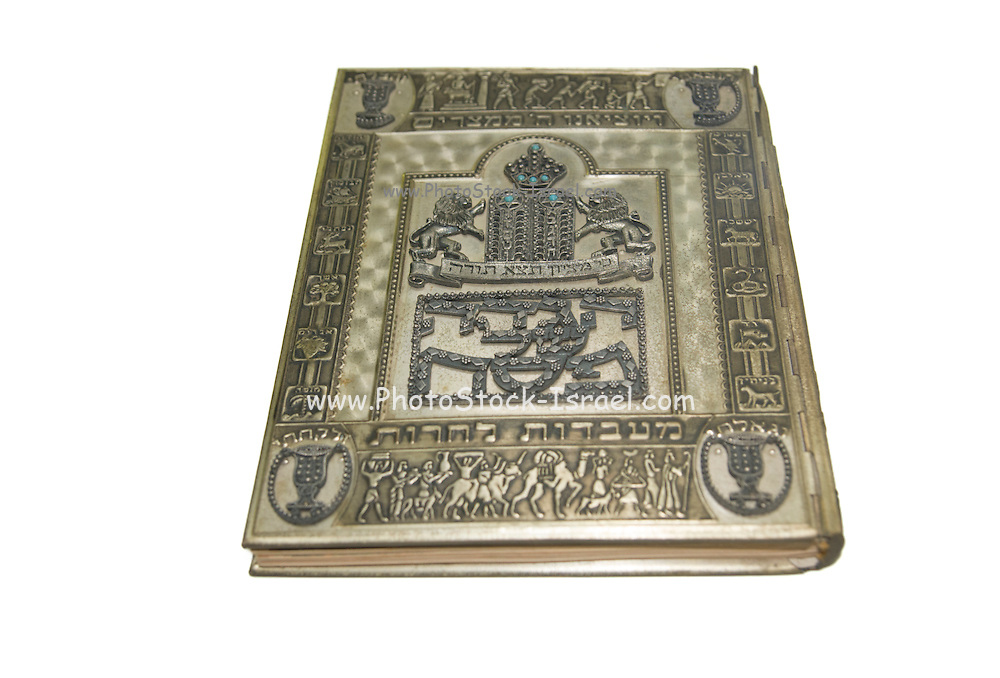 Decorated silver Passover Haggadah On white Background