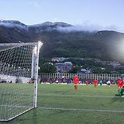 ANDORRA LA VELLA, ANDORRA. June 1.  Kylian Mbappe #10 of France scores his sides first goal beating goalkeeper  Josep Gomes #1 of Andorra at the picturesque stadium with a scenic mountain backdrop during the Andorra V France 2020 European Championship Qualifying, Group H match at the Estadi Nacional d'Andorra on June 11th 2019 in Andorra (Photo by Tim Clayton/Corbis via Getty Images)