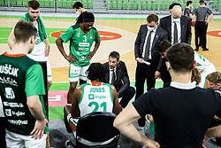 Jurica Golemac, head coach of Cedevita Olimpija during 1st Leg basketball match between KK Cedevita Olimpija and KK Hopsi Polzela in Quarterfinals of Nova KBM League 2020/21, on May 4, 2021, in Arena Stozice, Ljubljana, Slovenia. Photo by Vid Ponikvar / Sportida