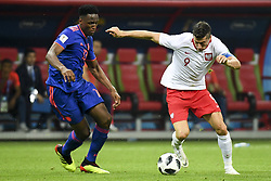 June 25, 2018 - Kazan, Russia - Yerry Mina of Colombia and Robert Lewandowski of Poland during the 2018 FIFA World Cup Group H match between Poland and Colombia at Kazan Arena in Kazan, Russia on June 24, 2018  (Credit Image: © Andrew Surma/NurPhoto via ZUMA Press)