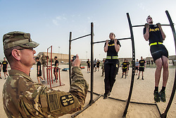Apr 28, 2017 - Camp Arifjan, Kuwait - Arm Hangers. Soldiers participate in the flexed arm-hang during qualifications for the German Armed Forces Badge for Military Proficiency at Camp Arifjan, Kuwait, April 28, 2017. The soldiers are assigned to commands throughout U.S. Central Command. Army photo by Sgt. Christopher Bigelow. (Credit Image: ? Christopher Bigelow/Army/DoD via ZUMA Wire/ZUMAPRESS.com)