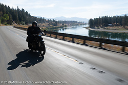 Jeff Tiernan riding his 1912 Hendersonmodel A alongside the Columbia River during the Motorcycle Cannonball coast to coast vintage run. Stage 13 (254 miles) Kalispell, MT to Spokane, WA. Friday September 21, 2018. Photography ©2018 Michael Lichter.