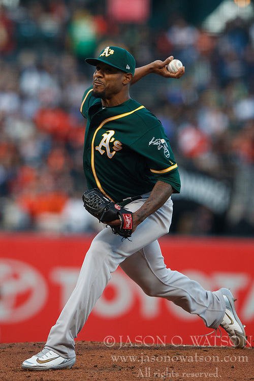 SAN FRANCISCO, CA - JULY 13: Edwin Jackson #37 of the Oakland Athletics pitches against the San Francisco Giants during the first inning at AT&T Park on July 13, 2018 in San Francisco, California.  (Photo by Jason O. Watson/Getty Images) *** Local Caption *** Edwin Jackson