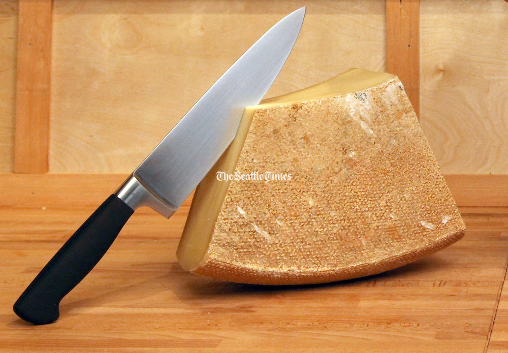 Block of cheese from The Calf & Kid artisan cheese shop.<br /> Ken Lambert / The Seattle Times