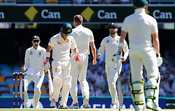 England's Jake Ball celebrates the wicket of David Warner during day two of the Ashes Test match at The Gabba, Brisbane.