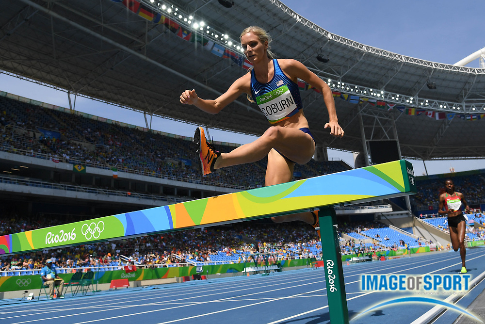 Aug 15, 2016; Rio de Janeiro, Brazil; Emma Coburn (USA) competes  in the women's 3,000m steeplechase athletics event at Estadio Olimpico Joao Havelange during the Rio 2016 Summer Olympic Games.