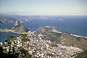 View over city of Rio de Janeiro, Brazil, South America 1962 to Sugar Loaf Mountain