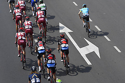 February 14, 2018 - Muscat, Oman - MUSCAT, SULTANATE OF OMAN - FEBRUARY 14 : Illustration picture of the peloton during stage 2 of the 9th edition of the 2018 Tour of Oman cycling race, a stage of 167.5 kms between Sultan Qaboos University and Al Bustan on February 14, 2018 in Muscat, Sultanate Of Oman, 14/02/2018 (Credit Image: © Panoramic via ZUMA Press)