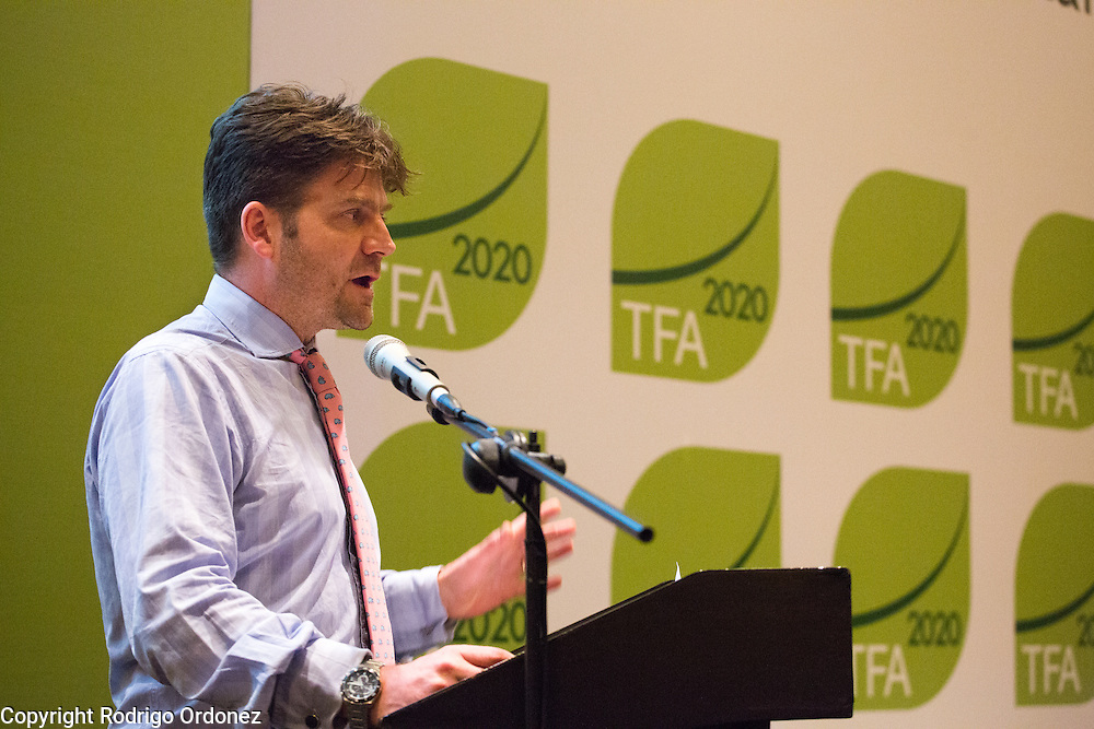 David Hoyle, Associate Director at Proforest, delivers a presentation about the Africa Palm Oil Initiative at the General Assembly of the Tropical Forest Alliance 2020 in Jakarta, Indonesia, on March 11, 2016. His presentation was about the results and the outlook of the Africa Palm Oil Initiative, the first signature initiative of TFA 2020. <br /> (Photo: Rodrigo Ordonez)