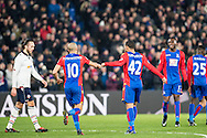 Crystal Palace midfielder Jason Puncheon (42), Crystal Palace midfielder Andros Townsend (10), Crystal Palace forward Christian Benteke (17) Celebrating 2nd goal of the night during the The FA Cup match between Crystal Palace and Bolton Wanderers at Selhurst Park, London, England on 17 January 2017. Photo by Sebastian Frej.