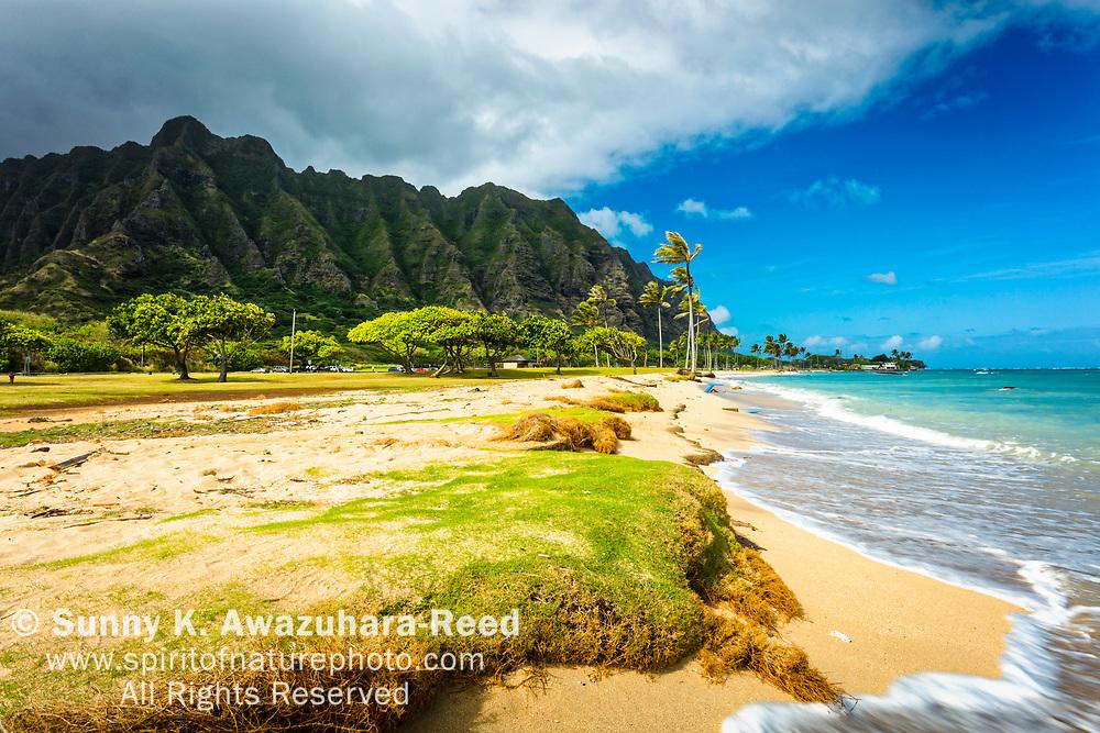Ko'olau Mountains rise above Kaneohe Bay and Kualoa Regional Park, Oahu, Hawaii.