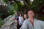 """Gars am Kamp, Lower Austria. Kunstraum Buchberg at Buchberg castle. Opening of the permanent installation """"cinéma"""" (2014) by Dorit Margreiter.<br /> From l.: János Kalmár, Tak-Yee Margreiter, Nicole Schmidt, Heimo Aga"""