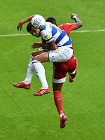 Football - 2019 / 2020 Sky Bet (EFL) Championship - Queens Park Rangers vs. Fulham<br /> <br /> Queens Park Rangers' Yoann Barbet battles with Fulham's Ivan Cavaleiro, at Kiyan Prince Foundation Stadium (Loftus Road).<br /> <br /> COLORSPORT/ASHLEY WESTERN