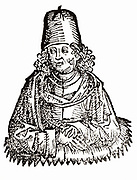 Pliny the Elder (Gaius Plinius Secundus) (23-79). Roman writer on natural history who died in the eruption of  the volcano Vesuvius in 79 because, being eager to observe the phenomenon, he landed at Stabiae (Castellamare) and was soon stifled by the fumes. Woodcut from 'Liber chronicarum mundi' (Nuremberg Chronicle) by Hartmann Schedel (Nuremberg), 1493.