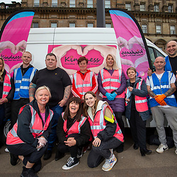 Homeless charity Kindness, helping the homeless in George Square, Glasgow.
