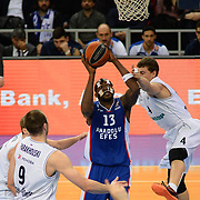 Anadolu Efes's Stephane Lasme (C) during their Turkish Airlines Euroleague Basketball Top 16 Round 11 match Anadolu Efes between Nizhny Novgorod at Abdi ipekci arena in Istanbul, Turkey, Thursday March 19, 2015. Photo by Aykut AKICI/TURKPIX