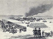 Burning of the Evans-Gordon train, at Wounded Knee Creek, near the north boundary of Nebraska, 325 miles west of Sioux City. M. B. Brubacher (Artist) 1875