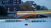 Putney, Greater London. 16th December 2019, Cambridge University Men's Trial Eights, raced over the Championship Course, Putney to Mortlake, River Thames, [Mandatory Credit: Patrick WHITE/Intersport Images],<br /> Electric<br />  Cox: Charlie Marcus, Stroke: Hugo Durward<br />  7: Andrew Gof,  6: Arthur Doyle<br />  5: Callum Sullivan. 4: Gerard Kuenning<br />  3: Reef Boericke, 2: Ben Dyer, <br /> Bow: Sam Vosper<br /> <br /> Boogaloo<br />  Cox: Emily Erdos, Stroke: Freddie Davidson<br />  7: Benjamin Freeman, 6: Jonty Page<br />  5: Robert Harris, 4: Philip Horton<br />  3: Matthias Hörnschemeyer, 2: Oliver Parish, Bow Theo Weinberger,